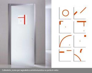 icone per segnaletica antinfortunistica su porte in vetro